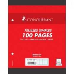 Feuillets mobiles 17x22 cm 100 pages Grands Carreaux blancs 90g