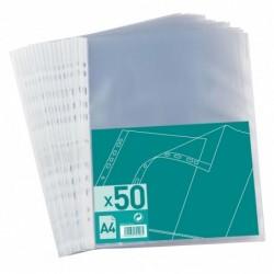 Sachet de 50 pochettes perforées Polypro 4/100e A4