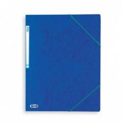 Chemise A4 carte lustrée TOP File 3 rabats à élastiques BLEU