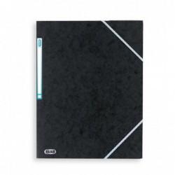 Chemise A4 carte lustrée TOP File 3 rabats à élastiques NOIR