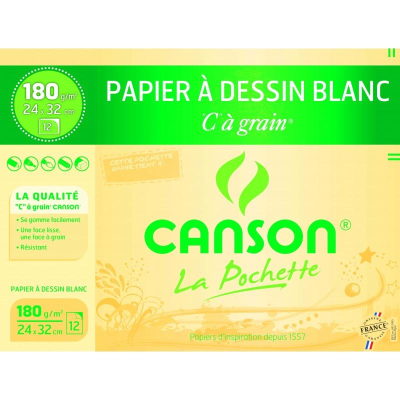 CANSON Pochette de 12 feuilles de papier dessin C A GRAIN 180g 24x32cm