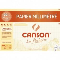 CANSON Pochette de 12 feuilles de papier millimétré - 21x29