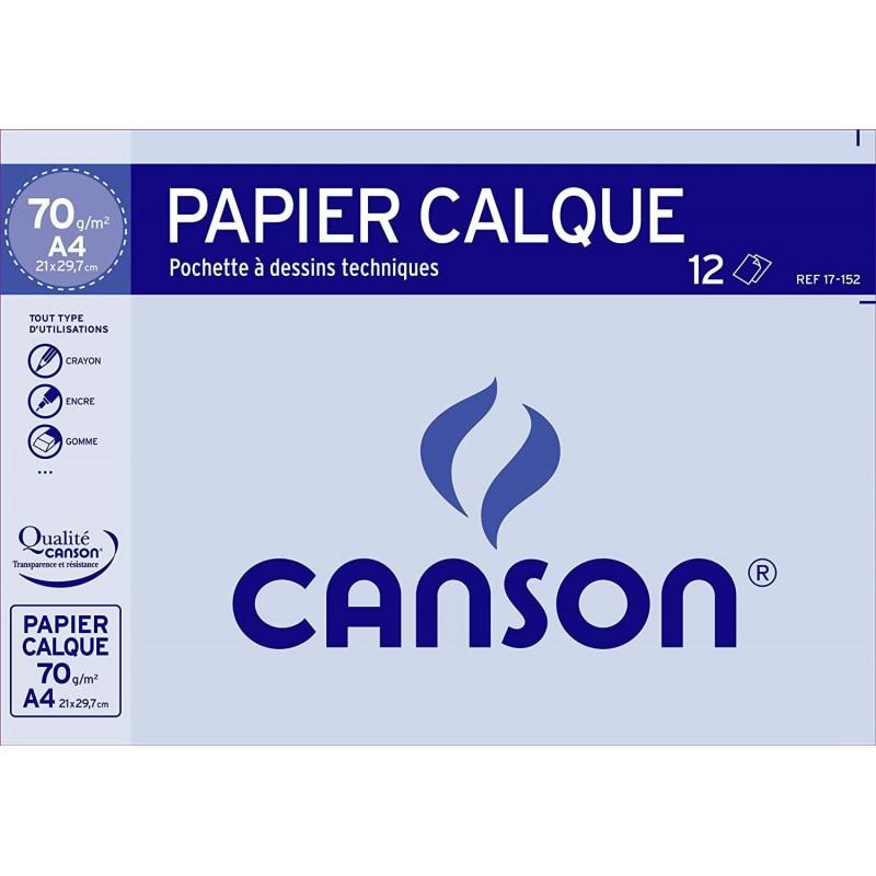 CANSON Pochette de 12 feuilles de papier calque - 24x32 - 70g