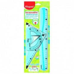 MAPED Kit de 3-traçage géometrie (1 Règle 30cm/1 Equerre 2 en 1-21cm / 1 Rapporteur 180° 12cm)  incassable