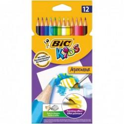 BIC Pochette plastique de 12 crayons de couleur aquarellables 17