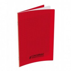 Cahier polypro 17X22 grands carreaux Rouge 90G 48P