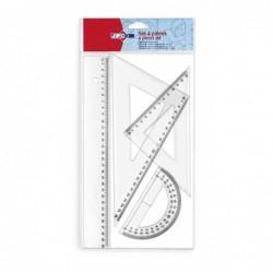 Kit de 4  traçage (1 Règle 30cm / 2 Equerres 60° 22cm et 45° 21cm / 1 Rapporteur 180° 12cm) plastique