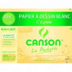 Canson Pochette de 12 feuilles de papier dessin C A GRAIN 224g 24x32cm