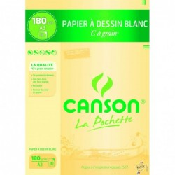 Canson Pochette de 10 feuilles de papier dessin C A GRAIN 180g A3