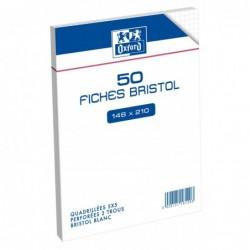 Oxford Sachet de 50 fiches bristol perforées 14