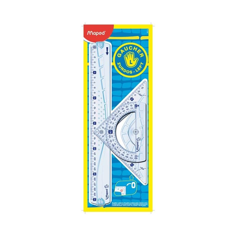 Maped Kit de traçage 3 pièces pour GAUCHER : (1 règle 30cm +1 équerre 21cm 45°+ 1 rapporteur 180) plastique