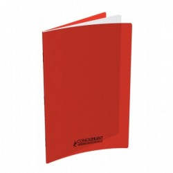 Cahier polypro 24X32 PP Rouge 90G 96P 5x5