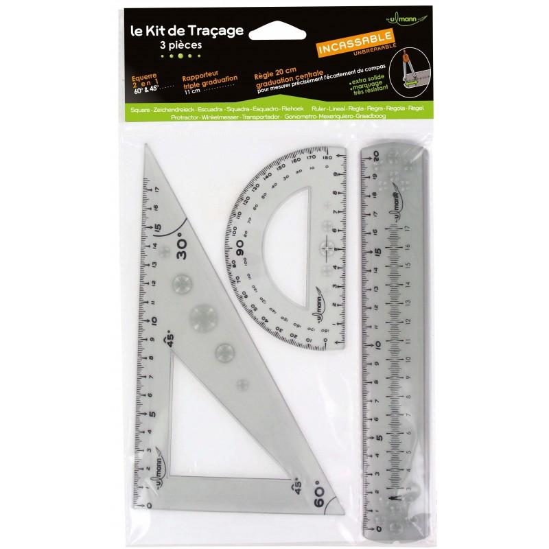 Kit de traçage 3 pièces (régle 20 cm + équerre 45° et 60° + 1 rapporteur) INCASSABLE
