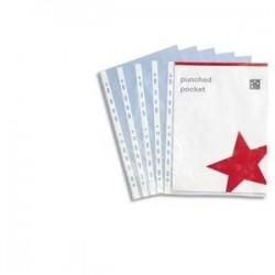 100 pochettes perforées en polypropylène 9/100e lisse