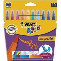 BIC Pochette 10 feutres à dessin pointe pinceau encre lavable CONTE VISAQUARELLE