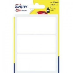 AVERY Sachet de 21 étiquettes blanches permanentes.  34 x 75 mm